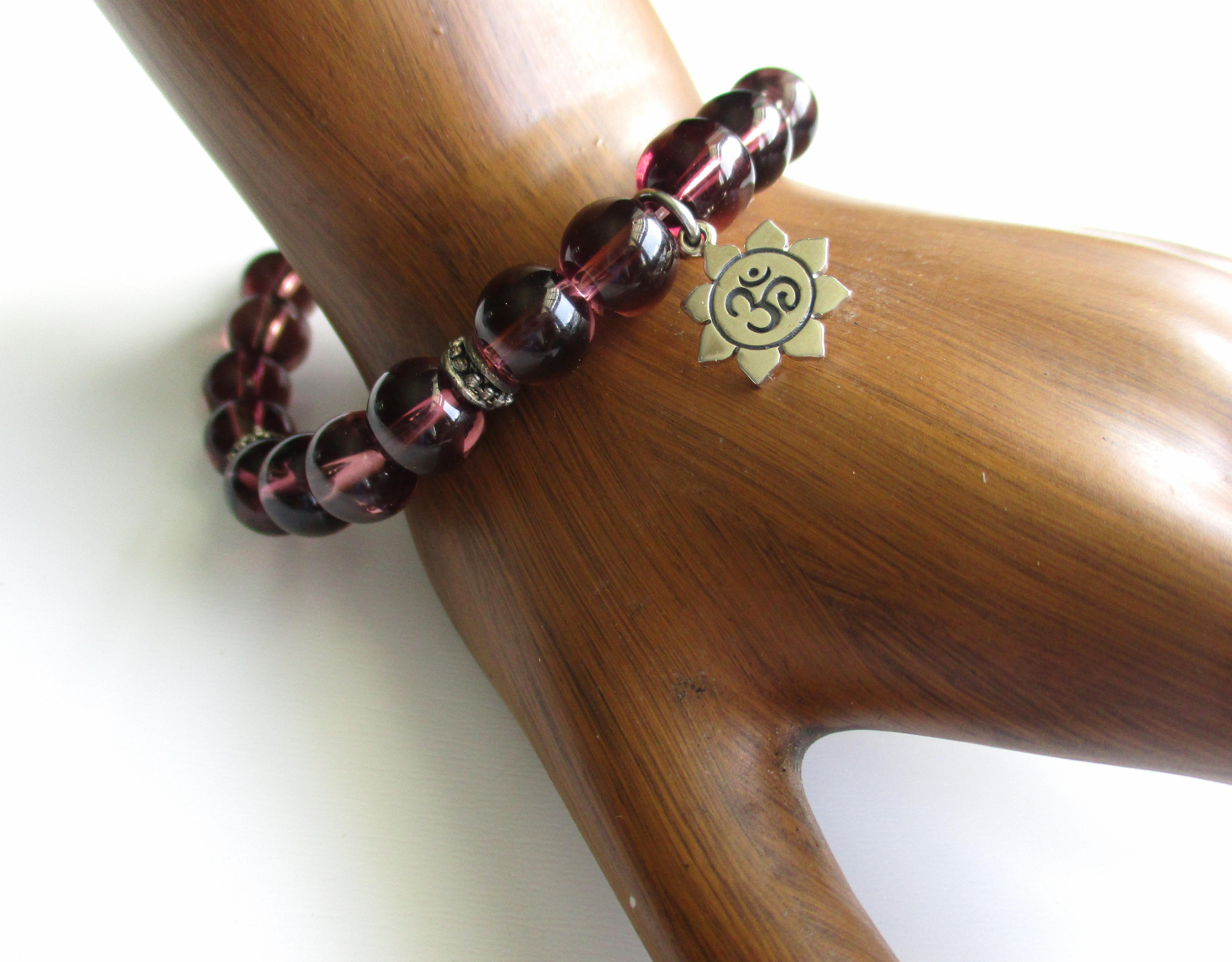 OM in the Lotus Charm Bracelet
