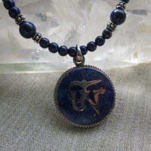 om lapis necklace