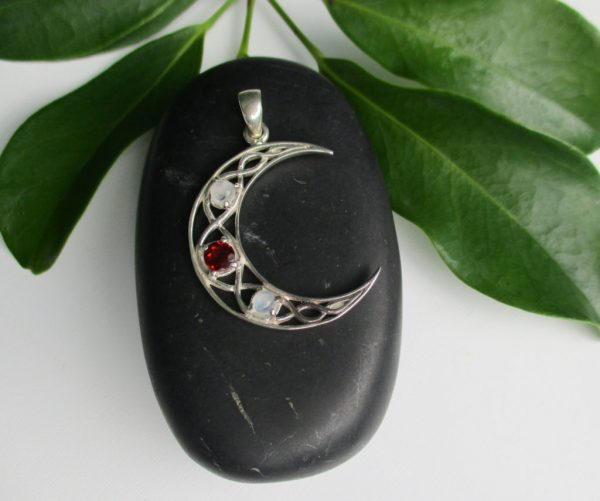 moon pendant with garnet