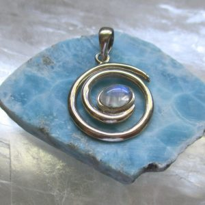 moonstone spiral pendant