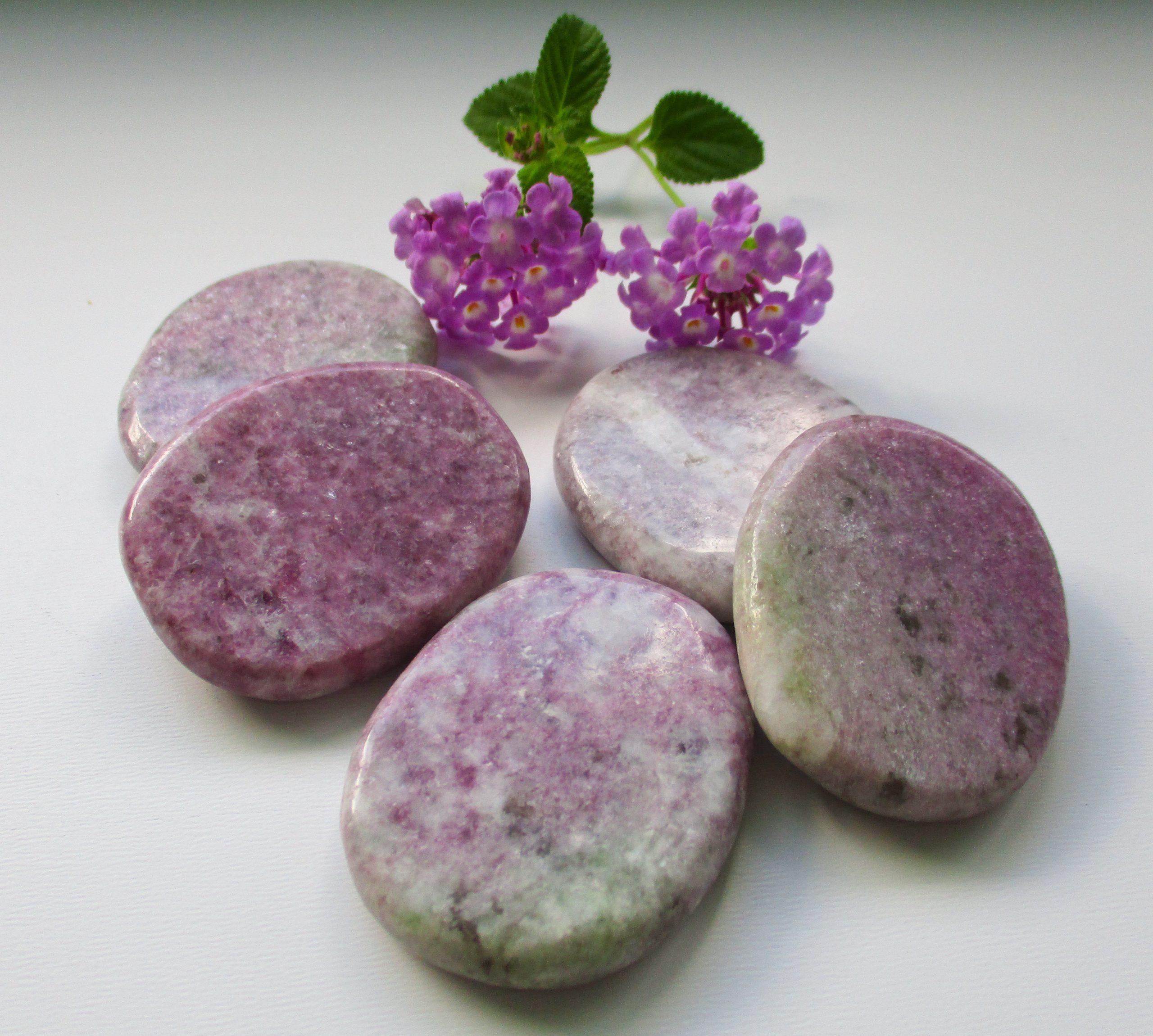 lilac lepidolite, palm stones